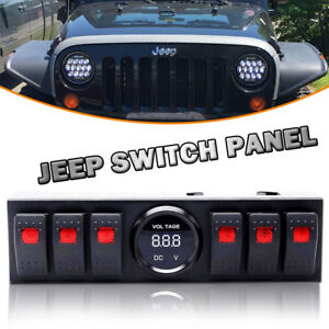 Lite Up Led 6 Rocker Jeep Switch Panel With Voltmeter Jeep Switch Panel Jk
