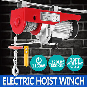 1320lbs Electric Hoist Winch Lifting Engine Crane Pulley Automotive Cable Pro