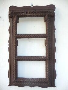 Antique Tramp Folk Art Picture Frame For Holding 3 Photos Rare Shape And Design
