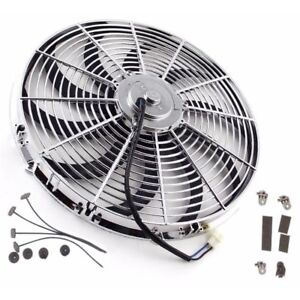 16 Universal Chrome Curved Blade Reversible Electric Cooling Fan W Mounting Kit