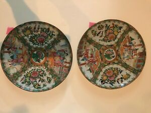 Antique Chinese Rose Medallion Porcelain Lot Of Two 9 5 Plates 3
