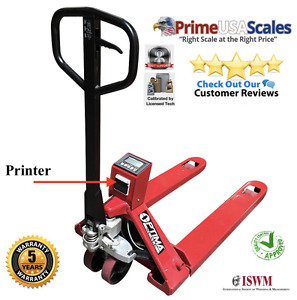 5 Year Warranty Pallet Jack Scale With Built in Printer 1 000 Lb X 2 Lb