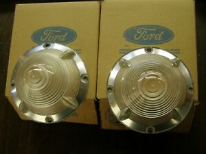 Nos Oem Ford 1955 Fairlane Grille Park Light Lenses Pair