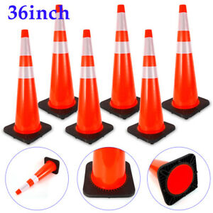 6x 36 Road Traffic Cones Reflective Overlap Parking Emergency Safety Cone Red