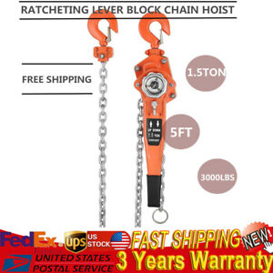 1 1 2 3000lbs Ton Lever Block Chain Hoist Ratchet Type Comealong Puller Lifter