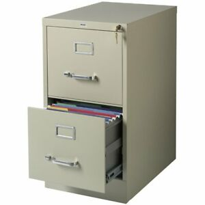 Hirsh 22 In Deep 2 Drawer Vertical Letter File Cabinet In Putty