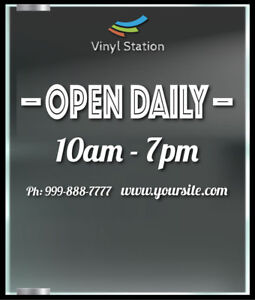 Retro Vintage Custom Shop Business Store Hours Vinyl Decal Sticker Sign Door