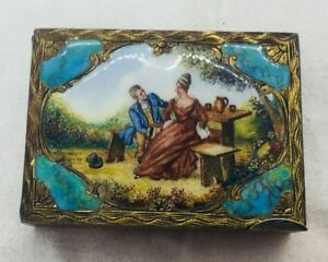 Antique 800 Silver Italian Scenic Enamel Couple Necessaire Compact Case