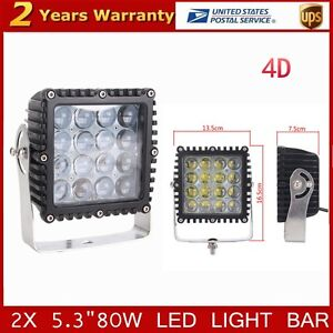 Square 2x 5 3inch 80w Spot Led Work Light Offroad Ute Truck For Jeep 4d Optical