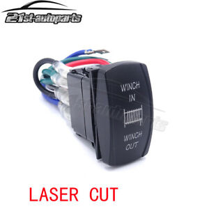 Blue Winch In Out Momentary Rocker Switch For Ford Truck Suv Atv Utv Boat