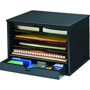 Wood Drawer Organizers Midnight Black Collection 4 shelf Desktop Organizer