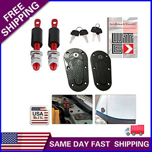 Universal Jdm Carbon Fiber Hood Pin Plus Flush Mount Latch Kit Lock With Keys