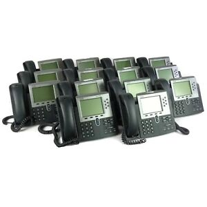 Lot Of 14 Cisco Ip Phone 7900 Series Cp 7961g Lcd Display Voip Telephone