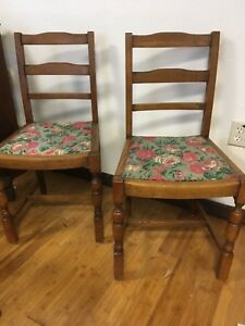 Vintage Pair Of Oak Wood Chairs Smaller 34 Tall Heavy Solid Oak