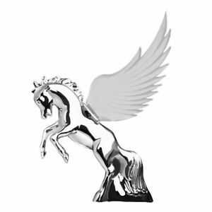 Hood Ornament Flying Stallion Chrome W Clear Windrider Wings Peterbilt Kw Fl