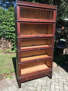 Antique Globe Wernicke Barrister Bookcase 5 Stack W Drawer Base