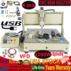 6090 4 Axis Usb Cnc Router Engraver Engraving Milling Machine 2200w Spindle