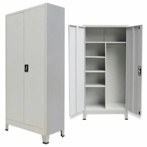Metal Locker Cabinet With 2 Doors Shelves Steel Storage Wardrobe Home Office