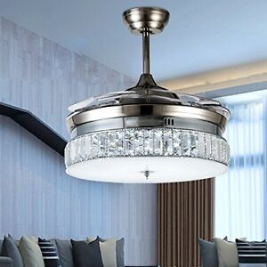 Silver Invisible Ceiling Fan Light Crystal Chandelier Restaurant Home Fan Lamp