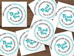Thank You 5 star Feedback Shipping Labels Stickers 2x2 White Teal Black Swirl