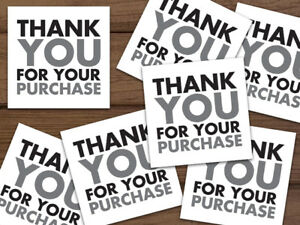 Thank You For Your Purchase Shipping Labels Stickers Black Gray 25 1000 2x2 Ebay
