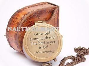 Larp Armory Grow Old With Me Engraved Brass Compass On Chain With Leather Case