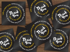 1000 Thank You 5 star Feedback Stickers Labels Black White Gold Swirl Text 2x2