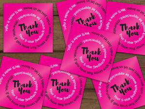 1000 Thank You 5 star Feedback Labels Hot Pink Black White Swirl Text 2x2