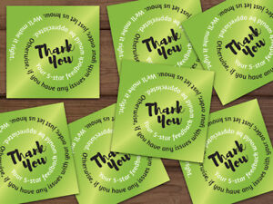 1000 Thank You 5 star Feedback Labels Lime Green Black White Swirl Text 2x2