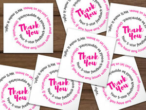 1000 Thank You 5 star Feedback Labels White Hot Pink Black Swirl Text 2x2