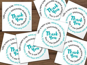 1000 Thank You 5 star Feedback Labels Stickers White Teal Black Swirl Text 2x2