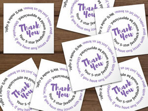 1000 Thank You 5 star Feedback Labels Stickers White Purple Black Swirl Text 2x2