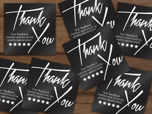 1000 Thank You 5 star Feedback Labels Stickers Black White 2x2