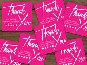 1000 Thank You 5 star Feedback Labels Stickers Hot Pink White 2x2