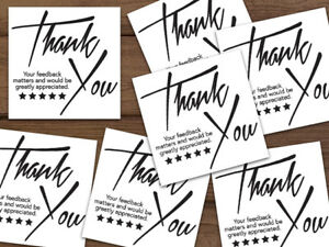 1000 Thank You 5 star Feedback Labels Stickers White Black 2x2