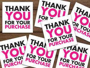 1000 Thank You For Your Purchase 5 star Feedback Labels White Hot Pink Black 2x2