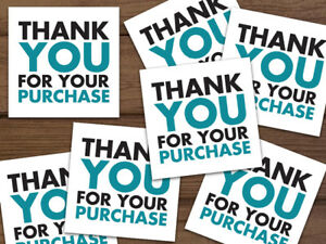 1000 Thank You For Your Purchase 5 star Feedback Labels White Teal Black 2x2