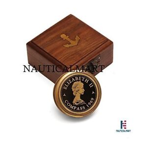 Larp Armory Vintage Inspired Pocket Brass Compass With Wooden Display Box
