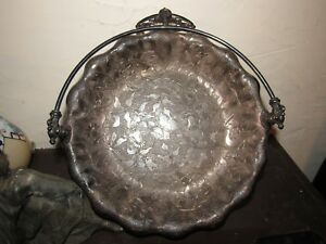 James W Tufts Quad Plate Brides Basket Victorian Dragonflys Butterflys Birds