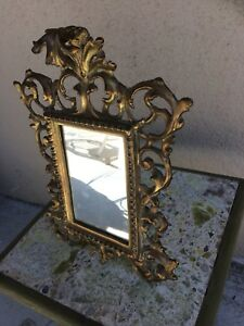 Beautiful Rare Antique Brass Standing Baroque Nb Iw Mirror Or Picture Frame