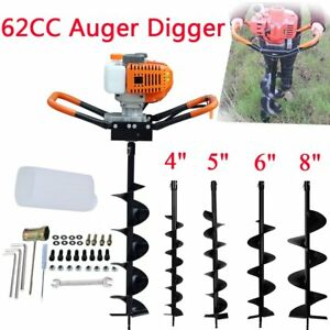 62cc Gas Powered Earth Auger Power Engine Post Hole Digger 4 8 drill Bit Sa