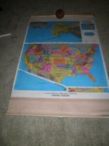 Rand Mcnally Pull Down Simplified Political Map America Us Home School Markable