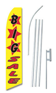 Big Sale Yellow Tall Advertising Banner Flag Complete Sign Kit 2 5 Feet Wide
