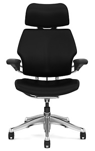 Humanscale Freedom Chair With Headrest leather polished Aluminum Frame