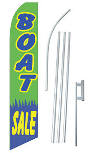 Boat Sale Green Tall Advertising Banner Flag Complete Sign Kit 2 5 Feet Wide