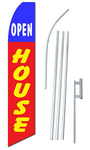 Open House Tall Advertising Banner Flag Complete Sign Kit 2 5 Feet Wide Red Blue