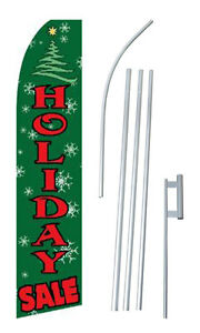 Holiday Sale Banner Flag Advertising Complete Tall Sign Kit 2 5 Wide Green