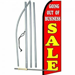 Complete 15 Out Of Business Kit Swooper Feather Flutter Banner Sign Flag