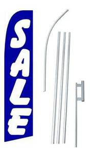 Sale Tall Advertising Banner Flag Complete Sign Kit 2 5 Feet Wide Blue