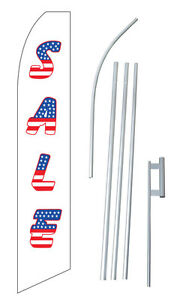 Sale Usa Tall Advertising Banner Flag Complete Sign Kit 2 5 Feet Wide